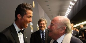 ZURICH, SWITZERLAND - JANUARY 07:  FIFA president Joseph S. Blatter greets Cristiano Ronaldo during the red carpet arrivals at the FIFA Ballon d'Or Gala 2012 at the Kongresshaus on January 7, 2013 in Zurich, Switzerland.  (Photo by Alexander Hassenstein - FIFA/FIFA via Getty Images)